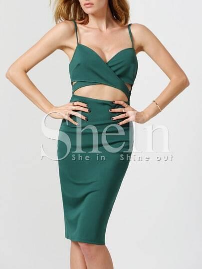 Green Spaghetti Strap Cut Out Dress