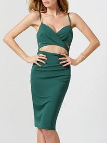 Green Spaghetti Strap Cut Out Dress