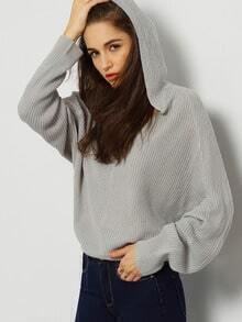 Grey Long Sleeve Round Neck Sweater