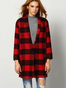 Black Red Long Sleeve Plaid Coat
