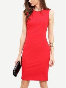 Red Sleeveless Knee Length Sheath Dress