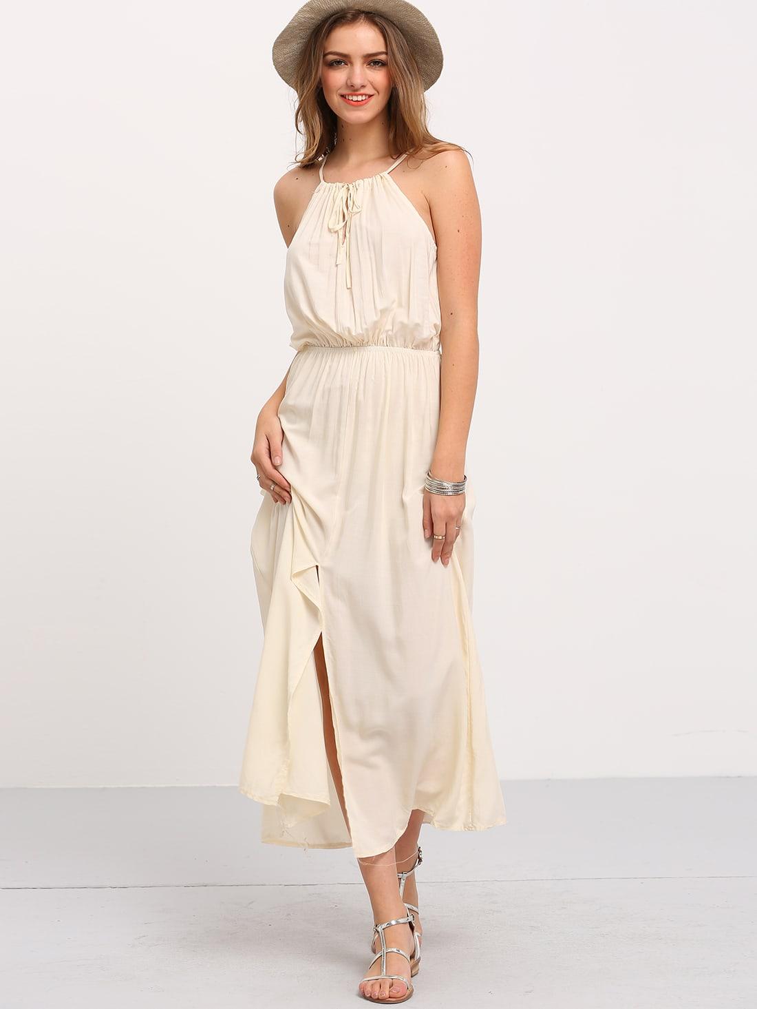White Sleeveless V Cut Dress