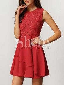With Zipper Lace Insert Flare Red Underskirt Drop Waist Dress