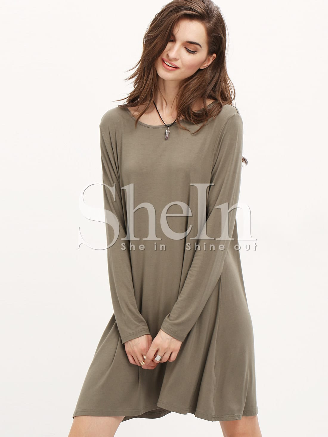 Grey Long Sleeve Casual Dress dress151021712