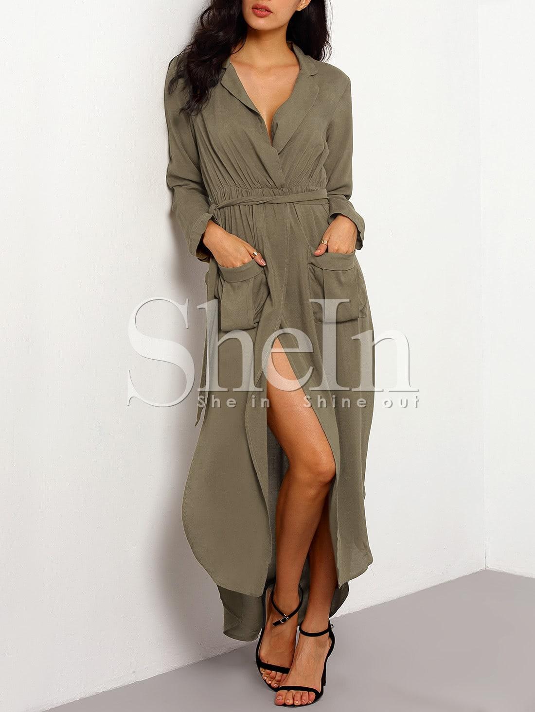 tie waist split maxi dress with pockets sheinsheinside With robe vert kaki
