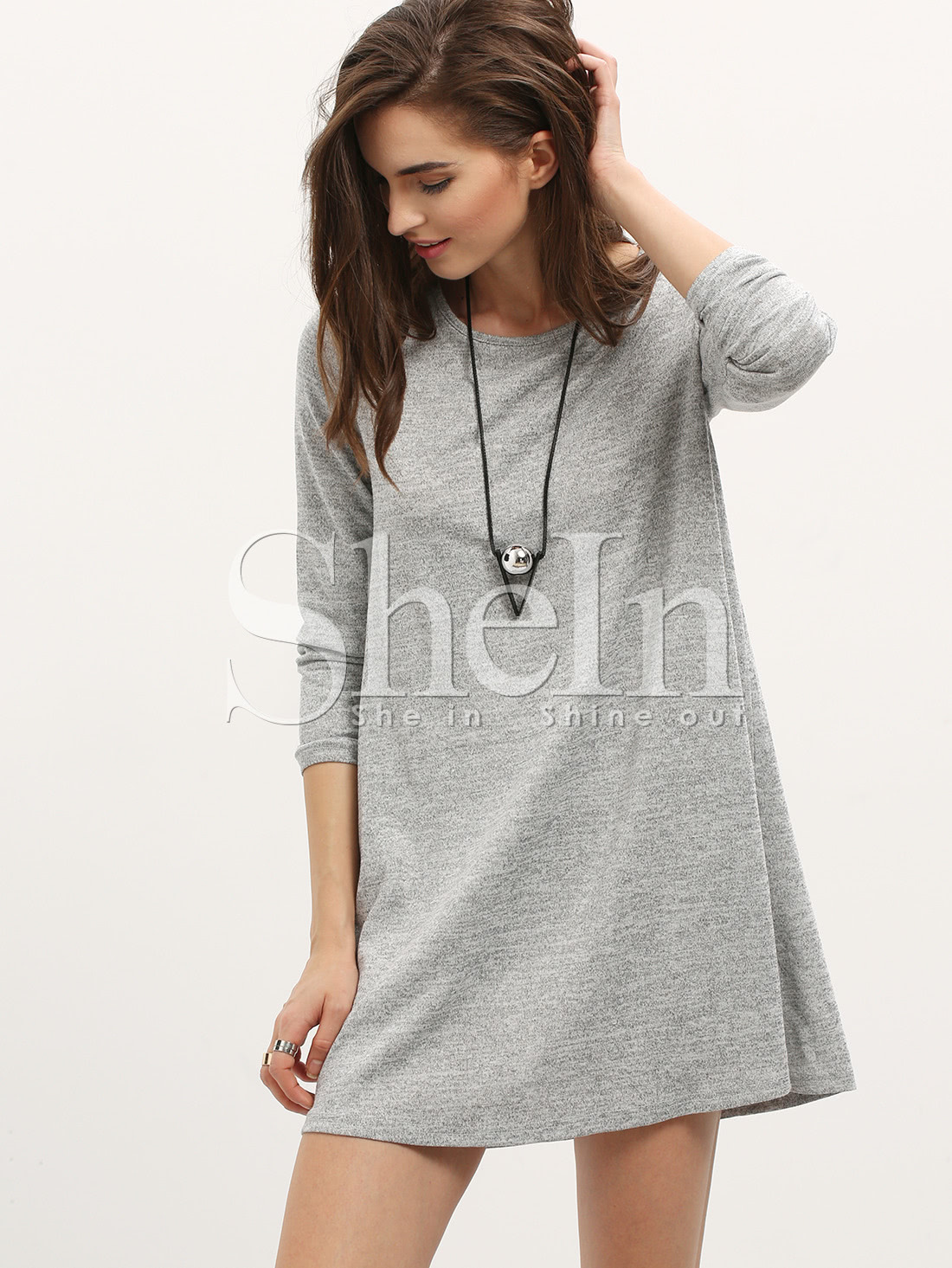 Grey Long Sleeve Casual Dress dress151016709
