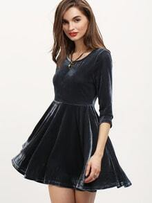 Grey Crew Neck Pleated Dress