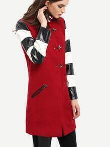 Wine Red Lapel Color Block Coat