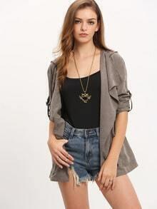 Grey Hooded Pockets Coat