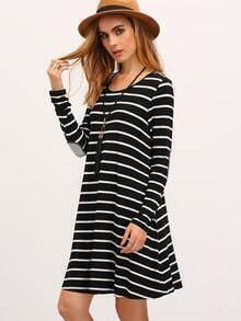 White Black Long Sleeve Striped Dress