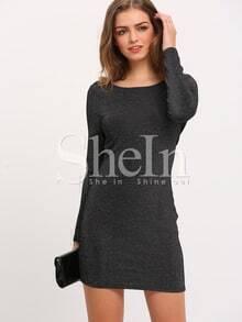 Black Long Sleeve V Back Bodycon Dress