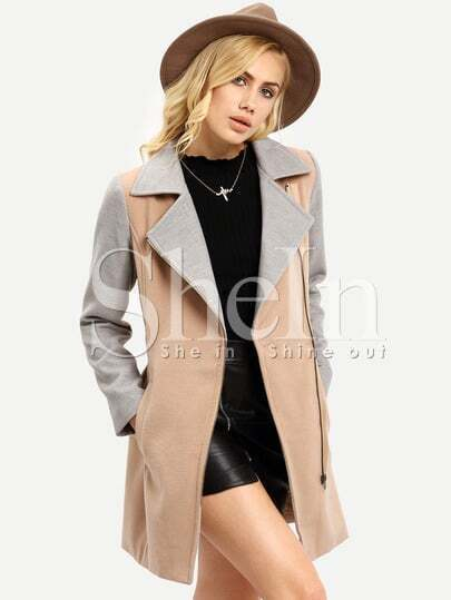 Khaki Grey Long Sleeve Lapel Color Block Coat