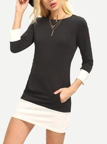 Black Boat Neck Pockets Contrast Hem Dress