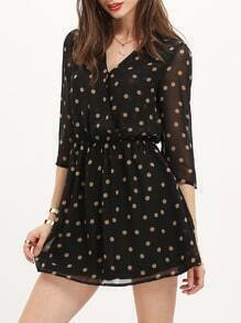 Black V Neck Polka Dot Dress