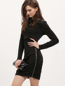 Black Long Sleeve Zipper Bodycon Dress