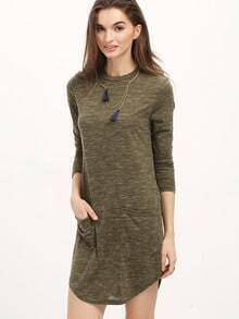 Green Long Sleeve Pockets Dress