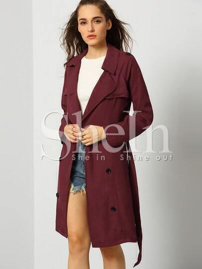 Wine Red Long Sleeve Lapel Trench Coat