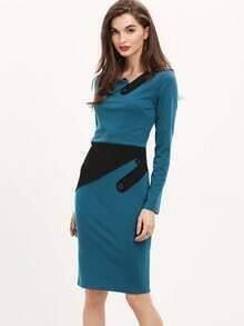 Blue Long Sleeve Color Block Dress