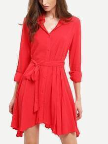 Red Lapel Asymmetric Dress