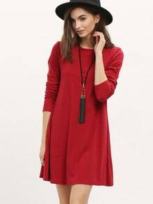 Burgundy Long Sleeve Casual Dress