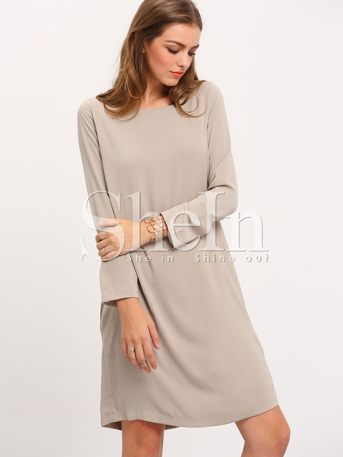 Grey Long Sleeve Round Neck Dress dress151021507