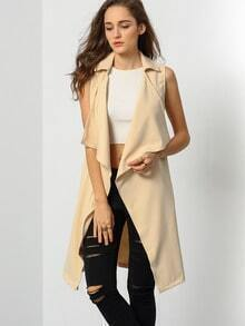 Khaki Sleeveless Lapel Vest
