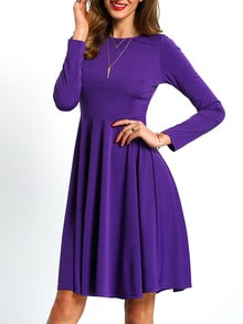 Purple Long Sleeve Pleated Dress