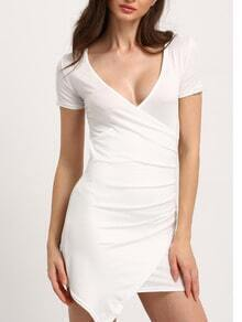Deep V Neck Short Sleeve Wraped White Dress