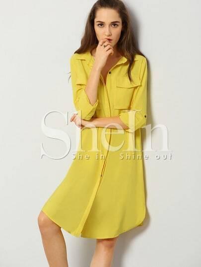 Yellow Long Sleeve Lapel Trench Coat