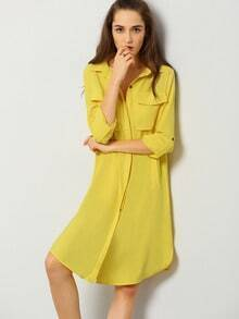 Yellow Long Sleeve Lapel Trench Coat