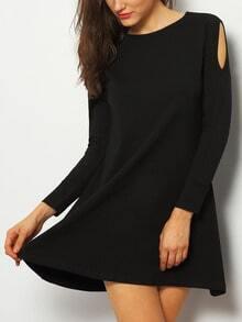 Black Off The Shoulder Long Sleeve Casual Dress