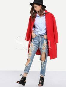 Red Long Sleeve Lapel Coat