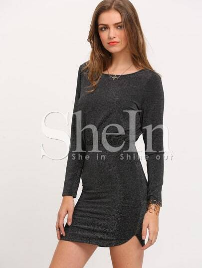 Black Long Sleeve Sequined Bodycon Dress