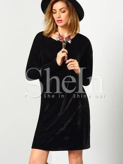 Black Long Sleeve Round Neck Casual Dress