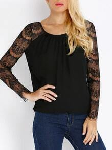 Black Long Sleeve With Lace Blouse