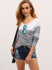 Grey White Long Sleeve Color Block T-Shirt