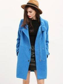 Blue Long Sleeve Lapel Zipper Coat