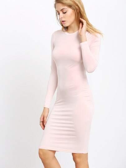 Light Pink Long Sleeve Slim Dress