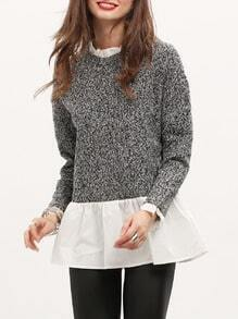 Grey White Color Block Ruffle Blouse
