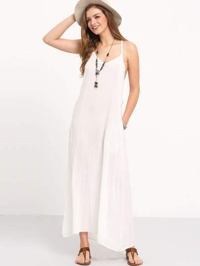 White Spaghetti Strap Pleated Floor Length Dress