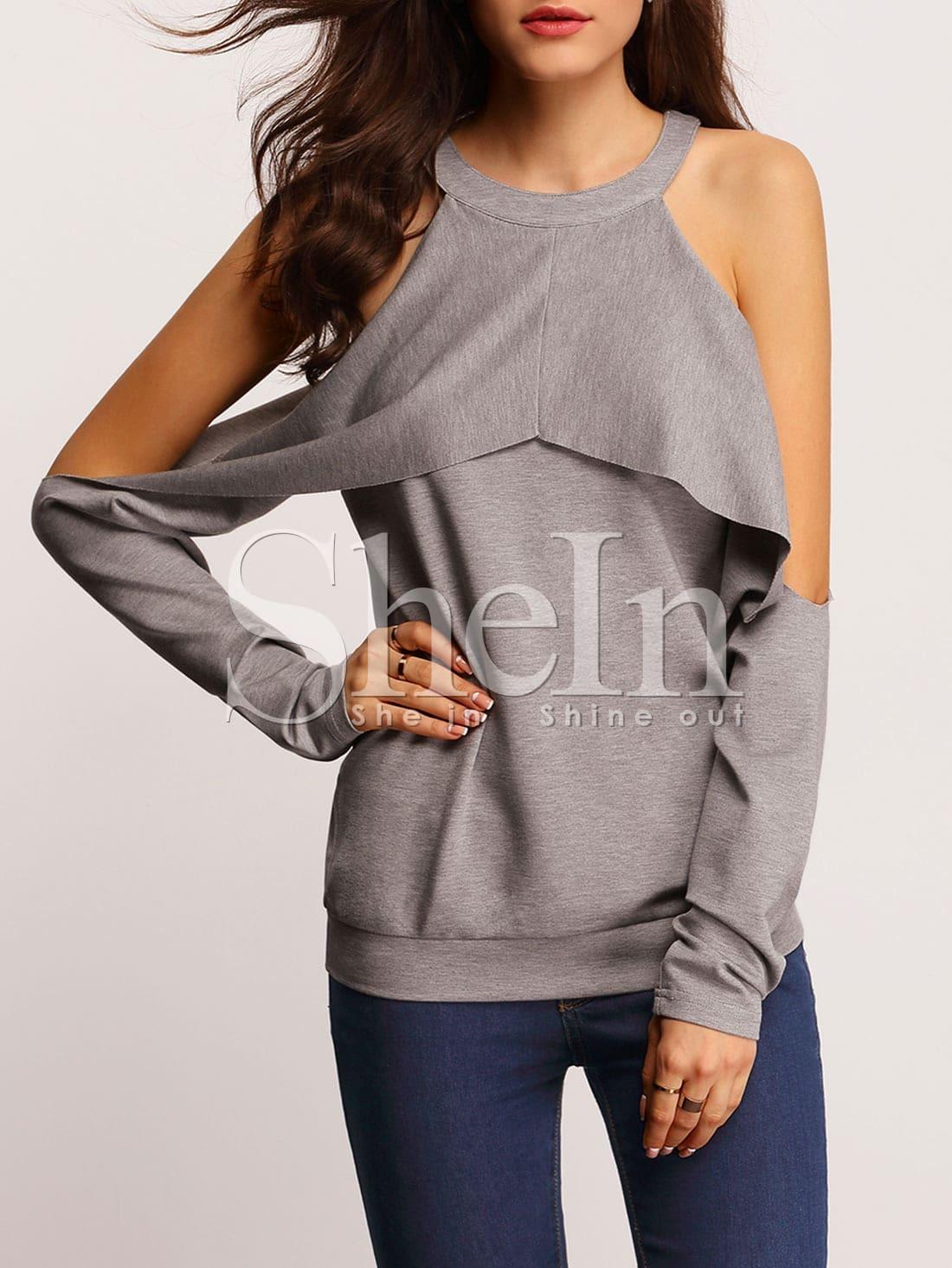grey crew neck cold shoulder t shirt shein sheinside. Black Bedroom Furniture Sets. Home Design Ideas