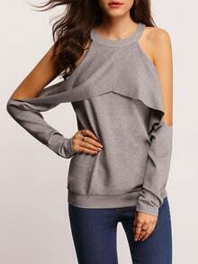 Grey Crew Neck Cold Shoulder T-Shirt