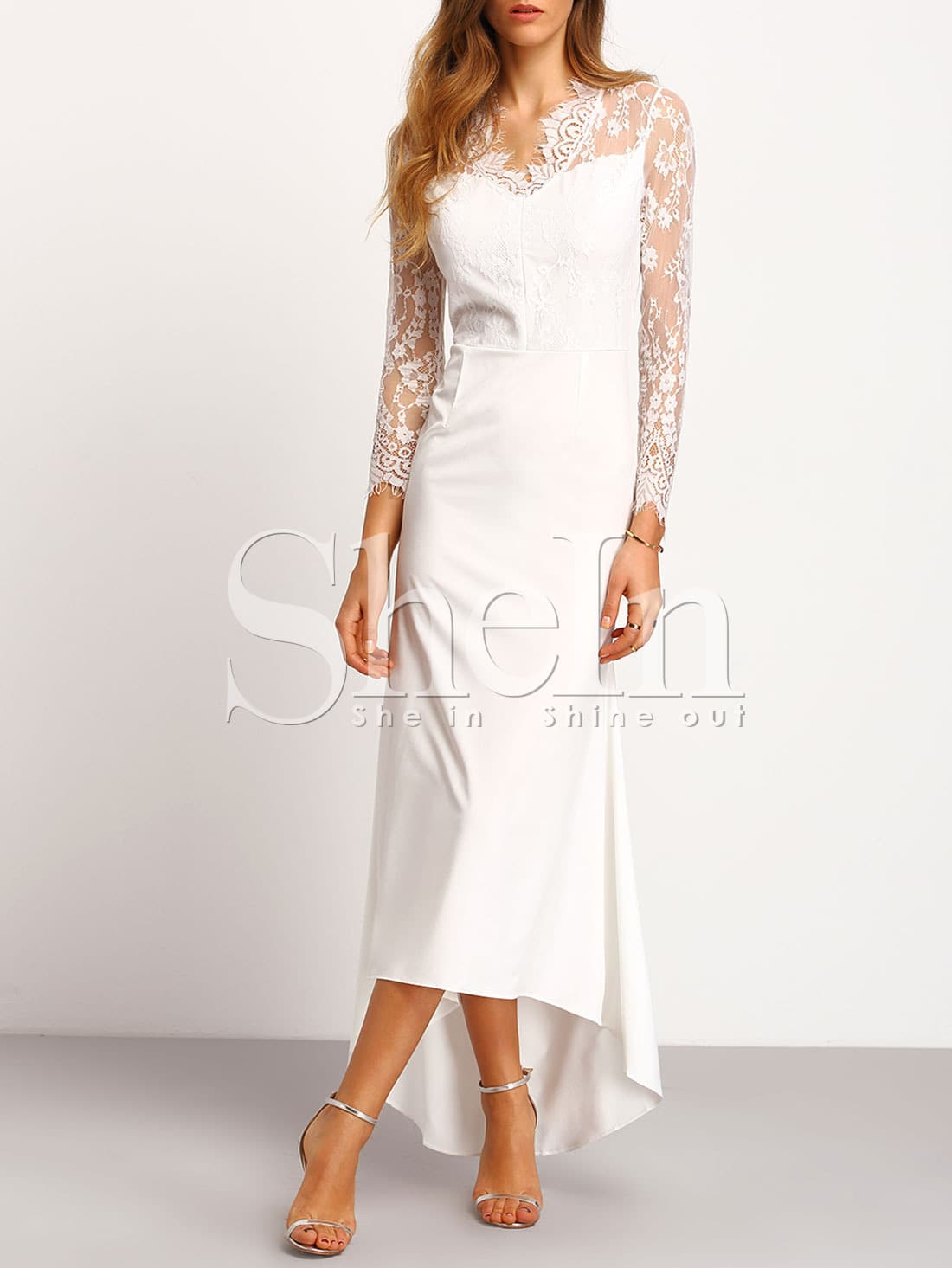 white long sleeve sheer lace maxi dress sheinsheinside