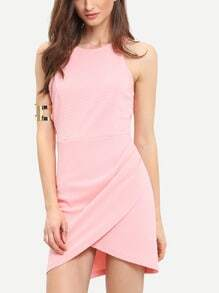 Pink Cutaway Sleeveless Wraparound Rouched Bodycon Dress