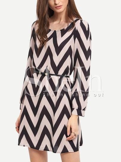 Apricot Black Long Sleeve Geometric Print Dress