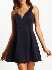 Navy Sleeveless Sweetheart Flare Dress