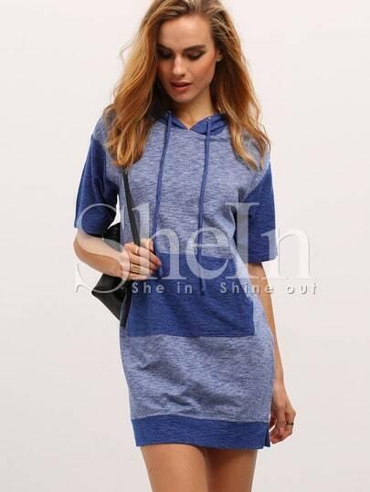 Blue Drawstring Hooded Pockets Dress