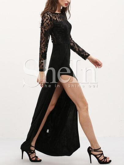 Black Long Sleeve With Lace Split Maxi Dress pictures