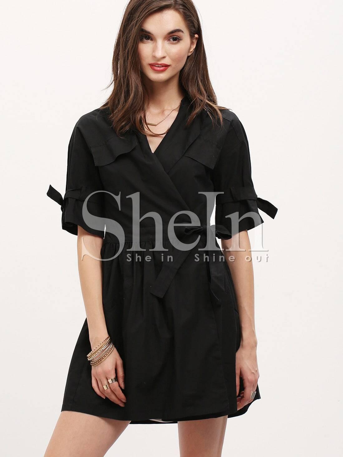 Black Half Sleeve Pockets Trench CoatBlack Half Sleeve Pockets Trench Coat<br><br>color: Black<br>size: L