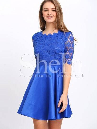 Blue Half Sleeve Elbow Sleeve Backless Scallop With Lace Flare Dress